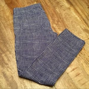 J.Crew Blue & White Print Toothpick Pants